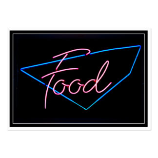 FOOD - Vintage Blue & Red Neon Sign Large Business Cards (Pack Of 100)