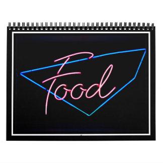 FOOD - Vintage Blue & Red Neon Sign Calendar