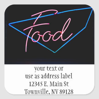 FOOD - Vintage Blue & Red Neon Sign Stickers
