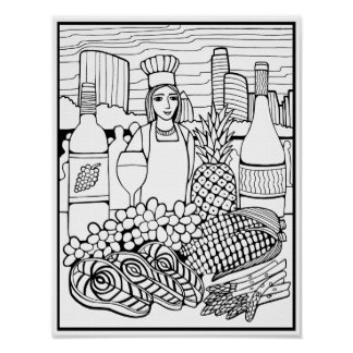 Food Wine Fest Cardstock Adult Coloring Page Poster