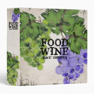 food wine grapes personal cookbook wine journal 3 ring binder
