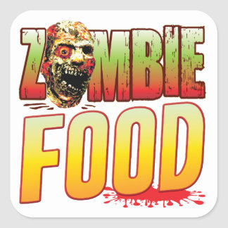 Food Zombie Head Square Stickers