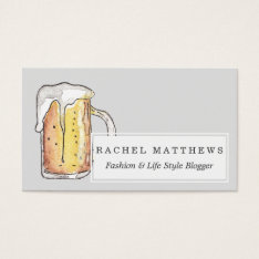 Foodie Cold Beer Mug In Hand Painted Watercolor Business Card at Zazzle