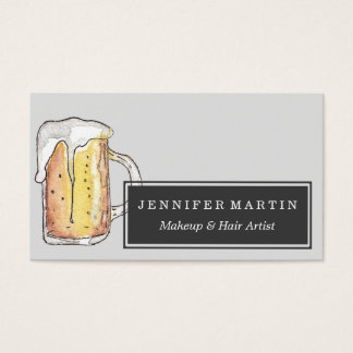 Foodie Cold Beer Mug in Hand Painted Watercolor Business Card