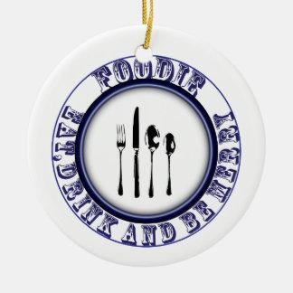 Foodie, come, bebida y sea feliz ornamento adorno redondo de cerámica