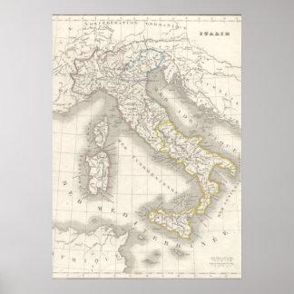 Foodie del italiano del mapa de Italia del Viejo M Posters