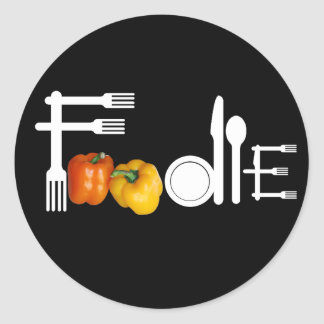 Foodie For Black Background Classic Round Sticker