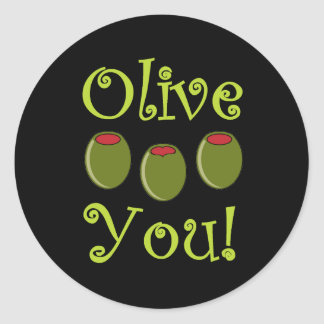 Foodie Olive You Classic Round Sticker