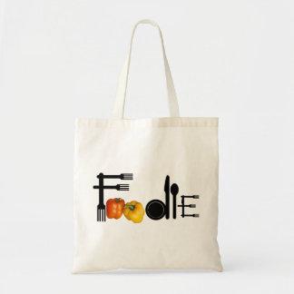 Foodie para el fondo ligero bolsa tela barata