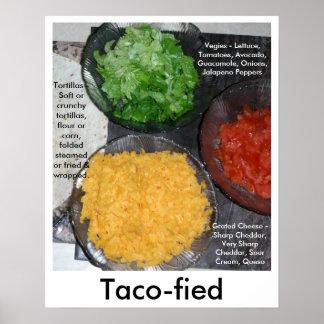 Foodie Poster Taco Vegies Tomatoes Cheese Yummy