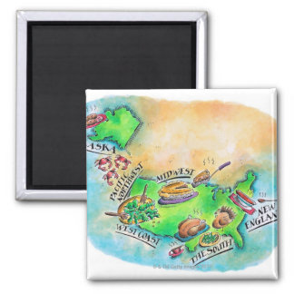 Foods of the USA 2 Inch Square Magnet