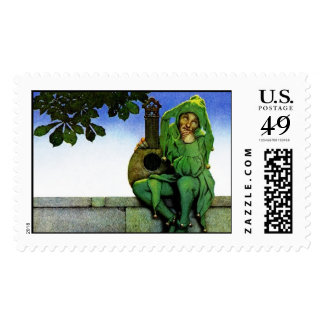 Fool In Green, Maxfield Parrish - Postage Stamp