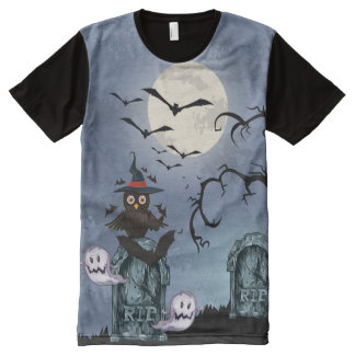Fool Moon Bats And Halloween Owl All-Over Print T-shirt