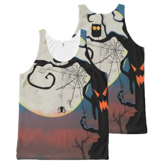 Fool Moon Halloween Owl & Spider Web All-Over Print Tank Top