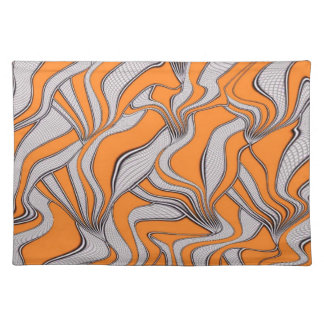 foolish movements swirl orange (C) Cloth Place Mat