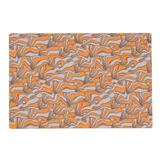 foolish movements swirl orange laminated place mat