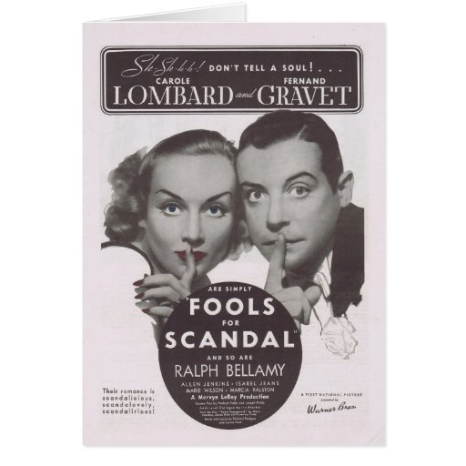 Fools For Scandal 1938 Movie Ad Card