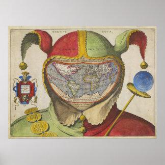 Fools Head Vintage World Map Poster