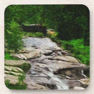 Foot Bridge Over Rocky Stream and Falls Abstract Coaster