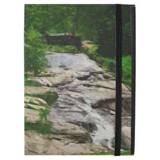 Foot Bridge Over Rocky Stream and Falls Abstract iPad Pro Case