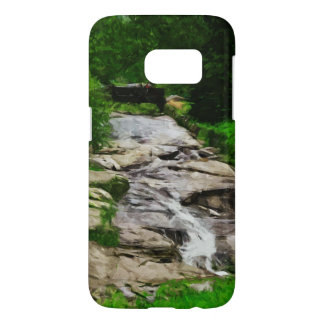 Foot Bridge Over Rocky Stream and Falls Abstract Samsung Galaxy S7 Case