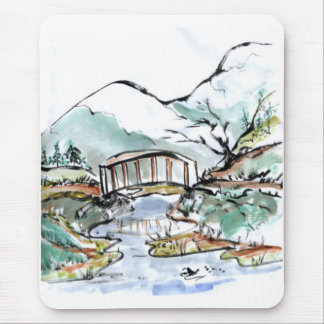 Foot Bridge over slow moving stream Mouse Pad
