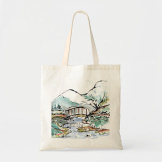 Foot Bridge over slow moving stream, Sumi-e Tote Bag