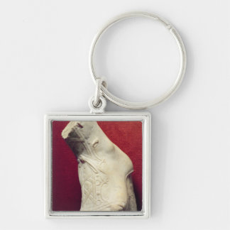 Foot from a statue Silver-Colored square keychain
