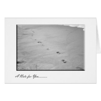 Foot Imprints in the Sand Card in Black and White