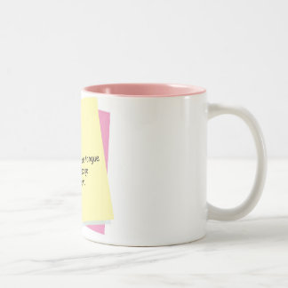 foot in mouth Two-Tone coffee mug