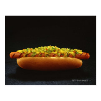 Foot-long hot dog with relish and mustard postcard