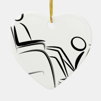 Foot Massage Stick Figure Double-Sided Heart Ceramic Christmas Ornament