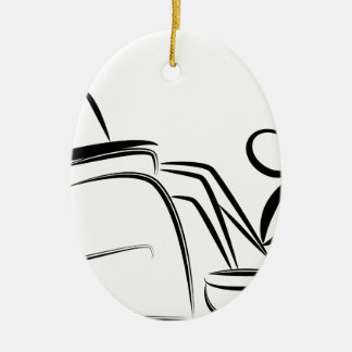 Foot Massage Stick Figure Double-Sided Oval Ceramic Christmas Ornament