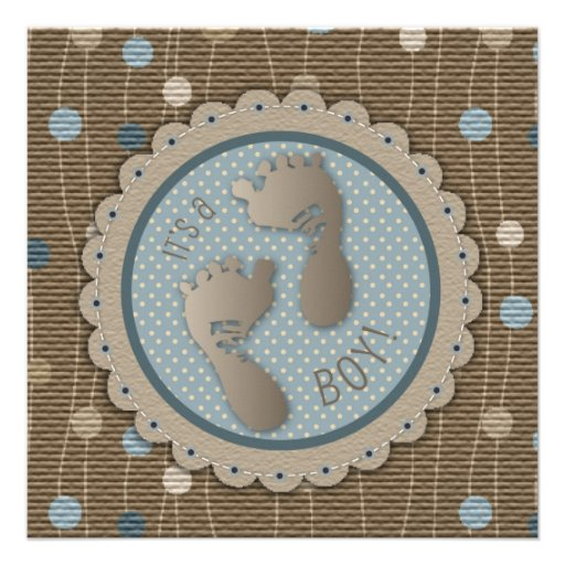 Foot Prints Boy Baby Shower Invitation Square