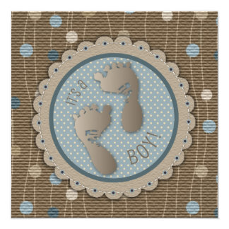 "Foot Prints Boy Baby Shower Invitation Square 5.25"" Square Invitation Card"