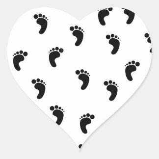 Foot Prints Heart Sticker