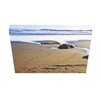 Foot prints on sea coast