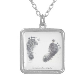 Foot prints silver plated necklace