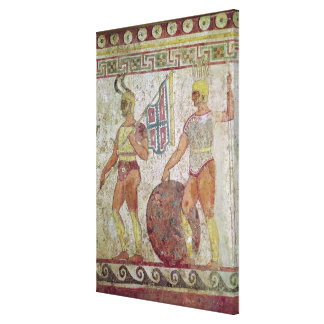 Foot soldiers, tomb painting from Paestum Canvas Print