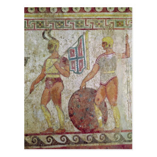 Foot soldiers, tomb painting from Paestum Postcard