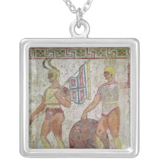 Foot soldiers, tomb painting from Paestum Silver Plated Necklace