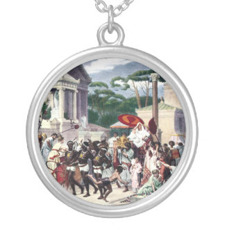 Foot Traffic on the Appian Way Silver Plated Necklace