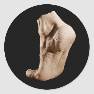 Foot which walks by itself. classic round sticker