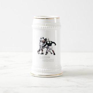 footbalkl de la defensa jarra de cerveza