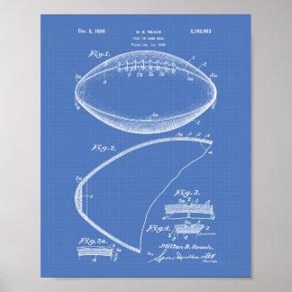 Football 1939 Patent Art - Blueprint Poster