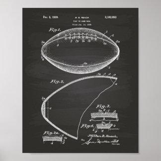 Football 1939 Patent Art - Chalkboard Poster