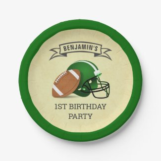 Football 1st Birthday Party Paper Plate