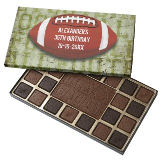 Football 35th Birthday Vintage Green Grunge Assorted Chocolates