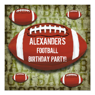 """Football 7th Birthday Party Vintage Green Grunge 5.25"""" Square Invitation Card"""