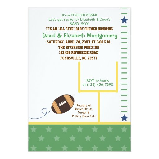Football All Star Sports Theme Baby Shower Invite